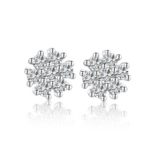 2015 Simple diamante pendiente aaa conjunto de joyas de copo de nieve de plata esterlina