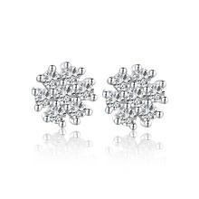 2015 simples diamante brinco aaa prata esterlina floco de neve conjunto de jóias