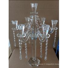 Bougeoir en cristal pour décoration de mariage avec trois postes