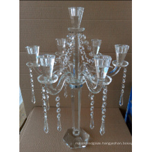 Crystal Candle Holder for Wedding Decoration with Three Posts