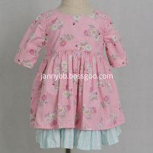 Boutique girls pink green cotton floral dress