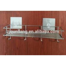 Prateleira de banheiro multifuncional de aço inoxidável com copo de sucção