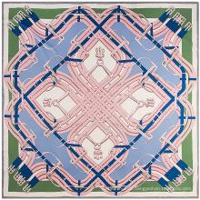 Hohe Qualität große quadratische Schal Gürtel Kette Digitaldruck Schal Dame Nachahmung Seidenschal