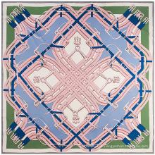Alta qualidade grande lenço quadrado cintos cadeia impressão digital lenço senhora imitação lenço de seda