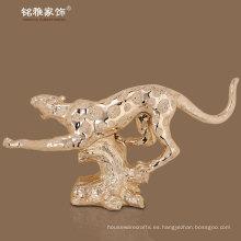 figurilla decorativa de interior de la leopoard de la resina estatuilla animal de la alta calidad