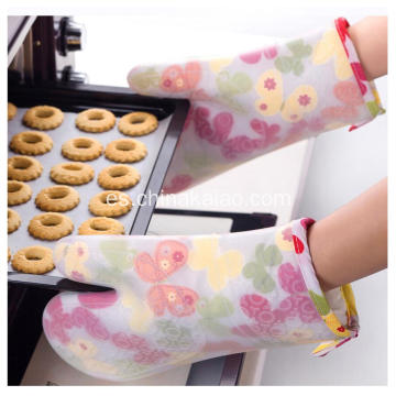 Cocina Horno Pot Holder Cotton Silicone Baking Gloves