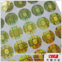 Golden hologram embossed hologram sticker with running number