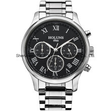 Multifunción impermeable acero inoxidable cuarzo reloj de pulsera de los hombres