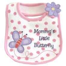 Babero de encargo suave del bebé del algodón bordado Applique de la mariposa de la historieta de las muchachas