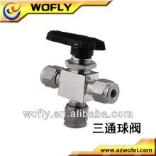 China 3 Weg 90 Grad PVC Kugelhahn Griff