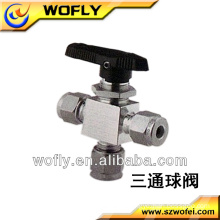 PVC 3 way cf8m stainless steel ball valve