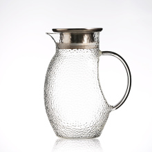 Hand mouth glass pitcher with lid and spout glass water carafe