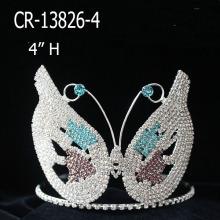 Custom Rhinestone Tiara Butterfly Mask Pageant Crowns