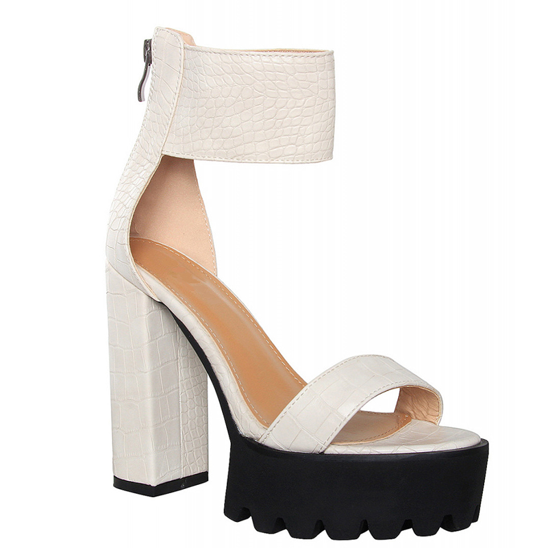 beige color chunky heel platform comfortable sandals