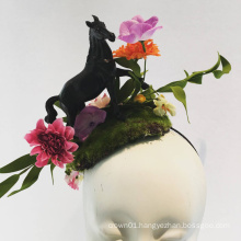 Horse Fascinator Horserace Derby Headband With Flower And Leaves For Ladies Tea Party
