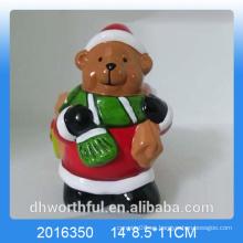 Terracota Oso de Navidad flor de cerámica para jardín