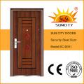 Puerta de acero de precio bajo de la entrada, imágenes de la puerta del hierro para los hogares (SC-S051)