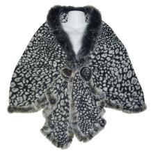 Lady Fashion Grey Wool Knitted Leopard Shawl (YKY4142-2)