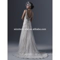 Последние Стиль высокое качество кружева и бисера украшения рукавов Русалка свадебное платье