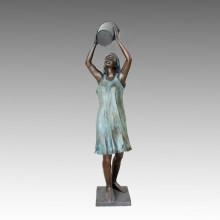 Grande Statue Baignade Fille Fontaine Bronze Sculpture Tpls-016