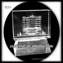 Modèle de bâtiment de laser de K9 3D à l'intérieur du presse-papiers en cristal