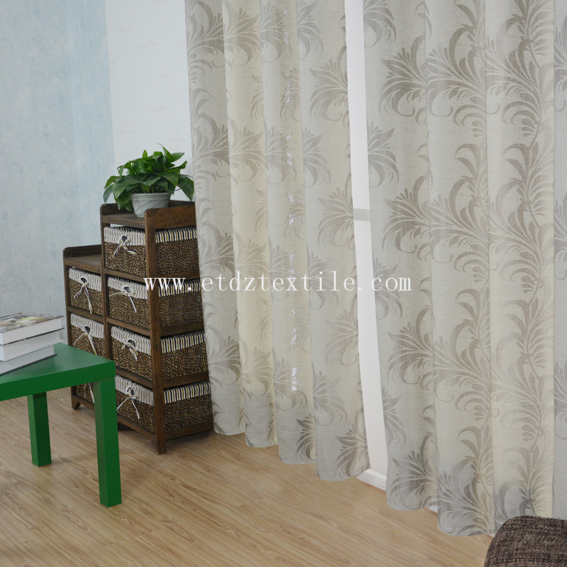 HOT Polyester Slub Yarn Linen Like Jacquard Fabric Dyed Window Curtain Fabric ZYL029 Grey