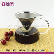 Neues Produkt Kaffeemaschine Pour-Over Edelstahl Kaffeefilter mit Glaskaraffe