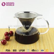 Новый продукт Кофеварка пуровер кофе из нержавеющей стали со стеклянным Графином