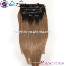 Alibaba оптовая Реми Виргинские волос Remy расширение волос клип на темно-русый