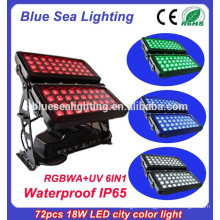 Professional 72pcs 18w 6 in 1 rgbwauv ip65 DMX led city color light