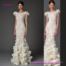 Transprent Spitze Mantel Hochzeitskleid mit 3D Blumen