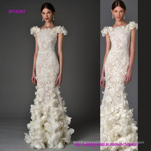 Transprent Lace Sheath Wedding Dress with 3D Flowers
