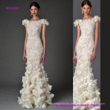 Transprent Lace Bainha vestido de noiva com flores 3D