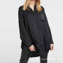 Women Black Oversized Loose Pocket Satin Silk Blouses Shirts Tops