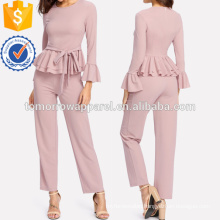 Flounce Cuff And Hem Self Belted Top & Pants Set Manufacture Wholesale Fashion Women Apparel (TA4047SS)
