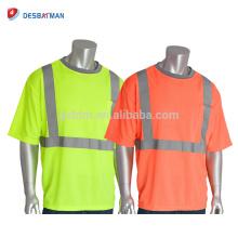 OEM Oi Vis Laranja / Amarelo Classe 2 T-Shirt de Segurança de Manga Curta Trabalho de Trabalho Industrial Reflexivo Uniforme Com Bolso no Peito