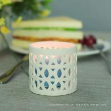 Neuester weiß gemusterter Kerzenhalter aus Keramik