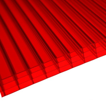 Feuille Multiwall de mur de polycarbonate de mur rouge de 4 (OEM disponible)