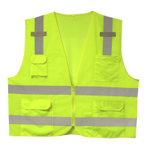 Safety Vest in 100%Polyester Knitting Fabric with Pockets and Replfetive Tapes