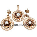 Shineme Jewelry Stainless Steel Gold Plating Jewelry Sets Earring with Pendant (ERS7093)