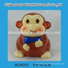 Lovely smiling monkey design ceramic animal cookie jar