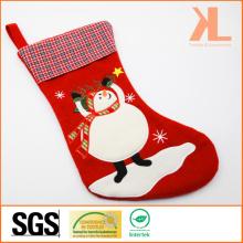 Broderie de qualité / Applique Décoration de Noël Tartan à feutre Snowman Style Stocking