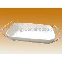 Prato oval cerâmico personalizado por atacado direto da fábrica com tampa