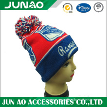 Wholesale customized pattern knit hat with ball