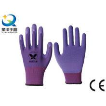 13G poliéster Shell látex espuma de trabajo guantes de trabajo