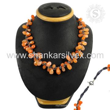 Frauen Zubehör 925 Sterling Multi Edelstein Silber Halsketten handgefertigten Schmuck Großhändler