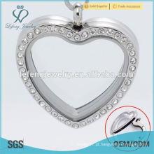 Bela de cristal de aço inoxidável amor locket jóias, flutuante encantos lockets atacado, foto memória locket