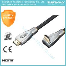 Cable macho a la derecha de cabeza metálica 1080P HDMI macho a ángulo recto
