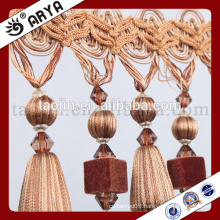 2016 Stock Chinese Manufacture Hot Sales Products for Home Decoration and Curtain Accessories of Pom Pom and Wooden Beads Fringe