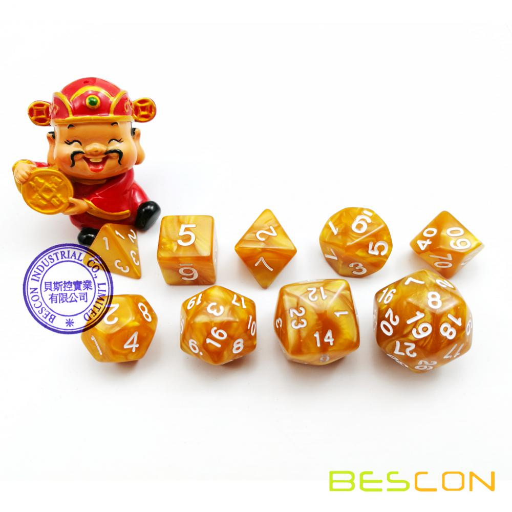 BESCON Pack of 9pcs Polyhedral Dice (9 Die in Set)- Role Playing Game Dice (RPG Dice)D4-D30 in Golden Color